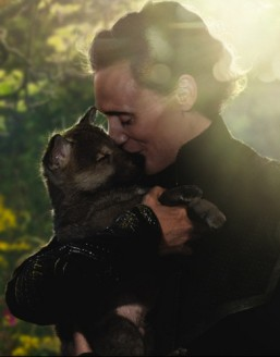 Ahhh, much better. Tom Hiddleston and a puppy...
